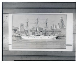 Paul Keller watercolor painting of ship and Portland skyline