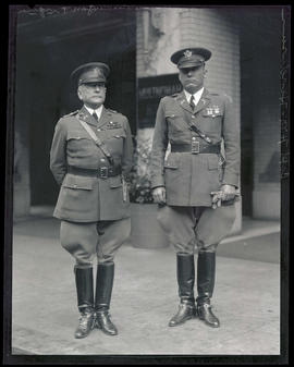 General Fuqua and Captain H. M. Henderson outside Multnomah Hotel