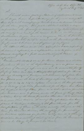 Letter transmitting abstracts of disbursement for quarter ending 30th June 1854