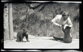 Irene Finley feeding bear cubs