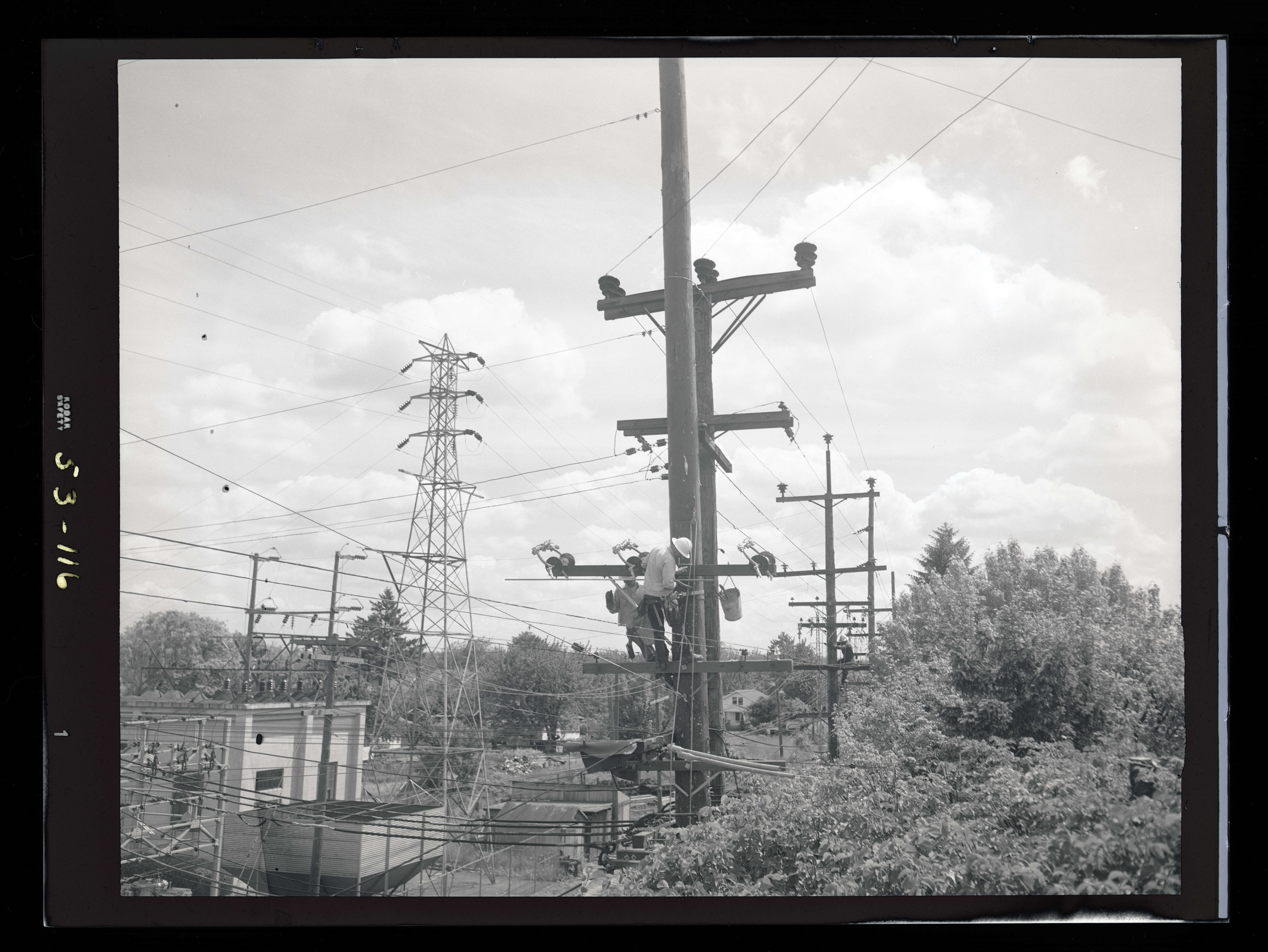 Line Department Linemen Working On Utility Pole Ohs Digital Collections