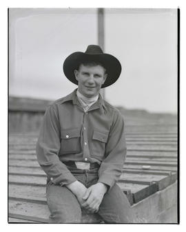 Mel Stonehouse, three-quarters portrait, probably at Pacific International Livestock Exposition
