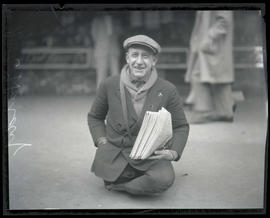 Joe Harty, selling newspapers