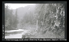 Oak Grove project, overhanging cliff near Roaring River ranger station