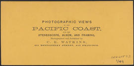 "Verso of, ""The Willamette Falls, Oregon."" (Stereograph 1220)"