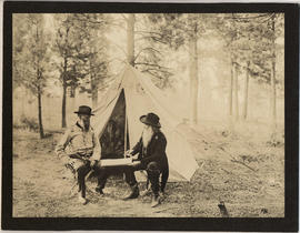 Capt. O.C. Applegate and Joaquin Miller in front of tent