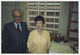 Robert C. Belloni with Faye Dement at a retirement party for Dement