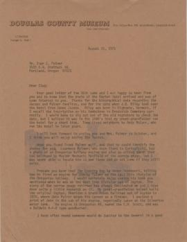 Letter from George B. Abdil, curator at the Douglas County Museum, to Omar C. Palmer