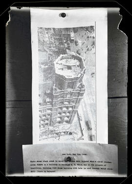 Photograph of New York building after clock crash