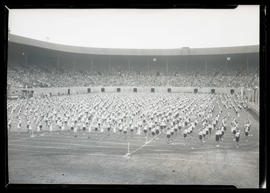 Children performing drills at Multnomah Stadium, possibly during Portland Rose Festival
