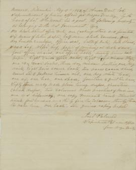 Letter acknowledging receipt of government property from Anson Dart, former Superintendent of Ind...