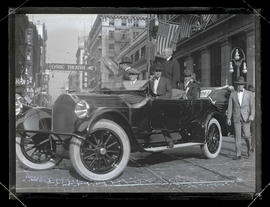 President Woodrow Wilson in car during procession through Portland