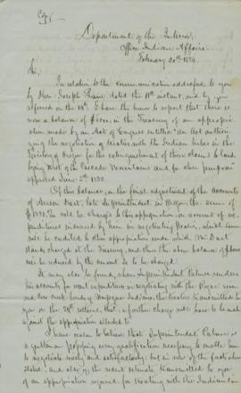Handwritten copy of letter from George Manypenny to Robert McClelland, secretary of the Interior