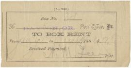 Receipt from Dayton, Oregon post office for a box rental