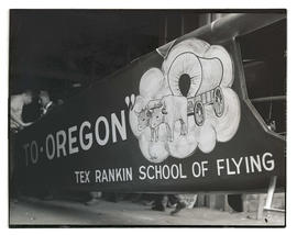 Artwork on side of Rankin brothers' airplane On-To-Oregon