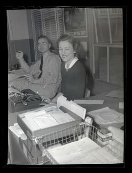 Employees in office at Albina Engine & Machine Works, Portland