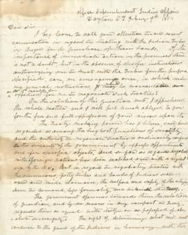 Draft of a letter requesting authorization to discuss treaties with Indian tribes