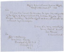 Resignation of Joel Palmer, to President Franklin Pierce