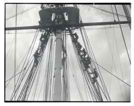 Sailors climbing into position on USS Constitution's mizzenmast
