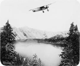 Lindbergh's flight over Crater Lake in Spirit of St. Louis