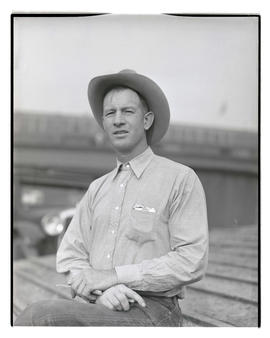 Chuck? Wilson, half-length portrait, probably at Pacific International Livestock Exposition