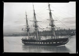 USS Constitution under way on Columbia or Willamette rivers