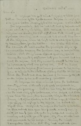 Draft of letter from Joel Palmer to Gov. George Curry and Major Rains