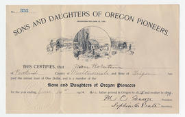 Sons and Daughters of Oregon Pioneers certificate, Nan Robertson