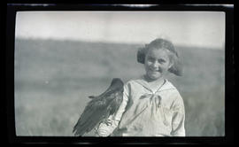 Phoebe Katherine Finley with a raven
