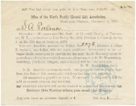 Bill sent to Sarah Ann Palmer from the Office of the North Pacific Mutual Life Insurance