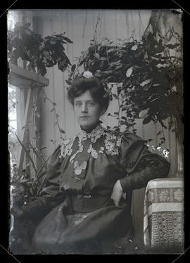 Unidentified woman seated, half-length portrait