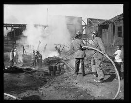 Firefighters at a structural fire