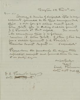 Copy of letter to J.L. Parrish