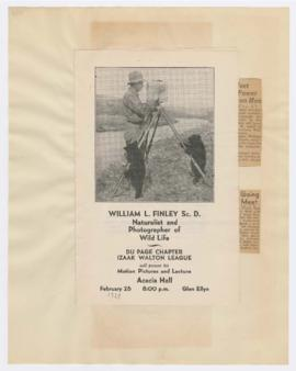 Program for William Finley lecture and articles discussing 2nd Annual American Wild Life Federati...
