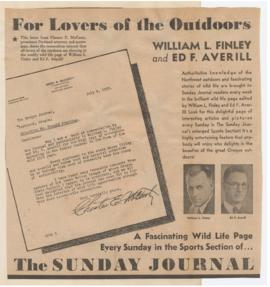 Advertisement for William Finley and Ed Averill's article series