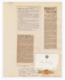 Articles discussing William Finley visit with President Franklin Delano Roosevelt