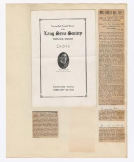 Program and articles discussing William Finley's lectures and 21st Annual Dinner of the Lang Syne Society