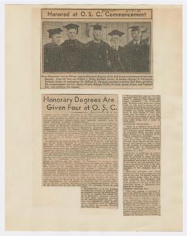 Article describing William Finley receiving honorary degree from Oregon State College