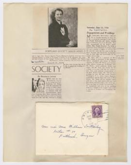 Invitation and articles discussing wedding between Phoebe Finley and Arthur Pack