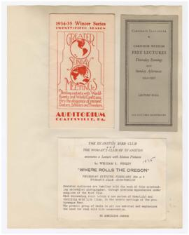 "Programs and advertisement for ""Where rolls the Oregon"" lecture"