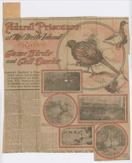 "Newspaper clipping titled: ""Federal Prisoners at McNeil's Island Raise Game Birds and Call Ducks"""