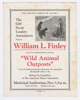 "Film lecture poster for ""Wild Animal Outposts"""