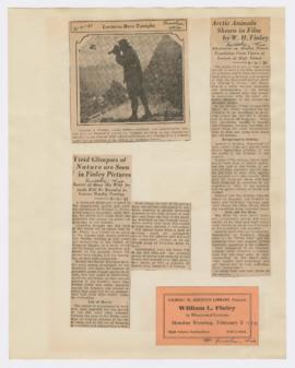 Advertisement and articles discussing lectures on Alaska and Rocky Mountain expeditions
