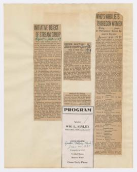 Advertisement and newspaper clippings discussing William Finley lecture, Malheur Lake refuge, and...