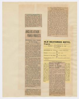 Advertisements and articles discussing William Finley lectures and effects of Columbia River proj...