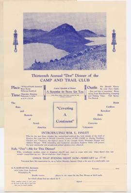 "Advertisement for 13th Annual ""Doe"" Dinner of the Camp and Trail Club"