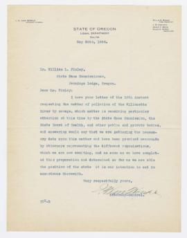 Letter from I. H. Van Winkle to William Finley, May 20, 1926