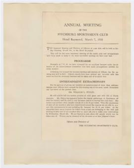 Program for the Annual Meeting of the Fitchburg Sportsmen's Club