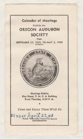 "Oregon Audubon Society program listing ""Life history of the California condor"" lecture"