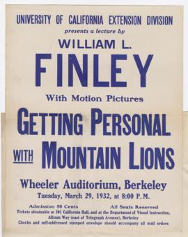"Advertisement for ""Getting personal with mountain lions"" lecture"
